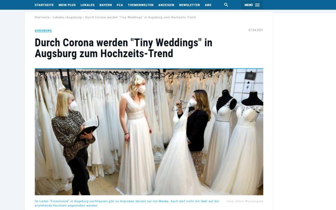 """Artikel in der Augsburger Allgemeine!! Durch Corona werden """"Tiny Weddings"""" in Augsburg zum Hochzeits-Trend"""